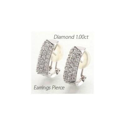 ダイヤモンド イヤリング レディース クリップ ゴールド 18k ピアス パヴェ 1.00ct スクエア 18金 K18