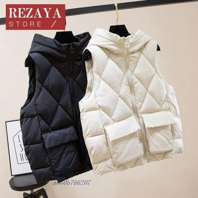 レディースベスト 秋冬 ダウンベスト レディース 中綿ベスト 合わせやすい アウター トップス 暖かい 防風防寒 ダウンジャケット