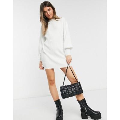 エイソス ASOS DESIGN レディース ワンピース ミニ丈 ワンピース・ドレス Asos Design Mini Rib Dress In Cream クリーム