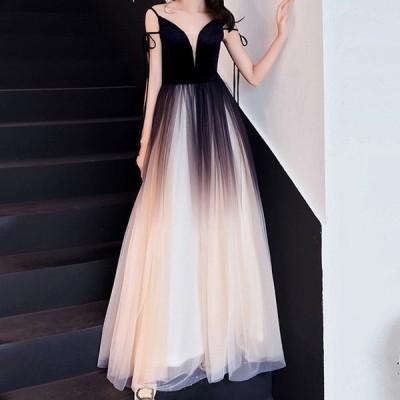 ドレス ロング丈 ベルベット Vネック セクシー キャミドレス シースルー ウエディング 二次会 エレガント 女性らしい リボン