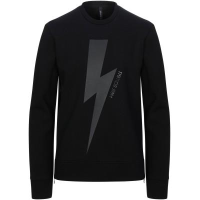ニール・バレット NEIL BARRETT スウェットシャツ ブラック S レーヨン 95% / ポリウレタン 5% / テンセル / コットン /