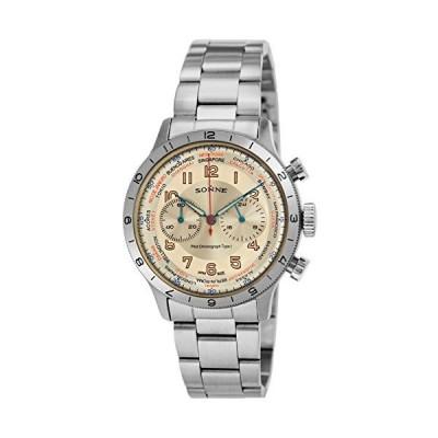 [ゾンネ] 腕時計 パイロットクロノグラフタイプI アイボリー文字盤 HI003IV ブラウン