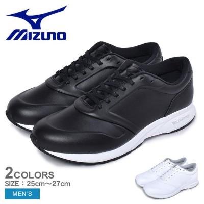 ミズノ スニーカー メンズ MIZUNO B1GE2051 ブラック 黒 ホワイト 白 スニーカー シューズ ブランド カジュアル シンプル レザー