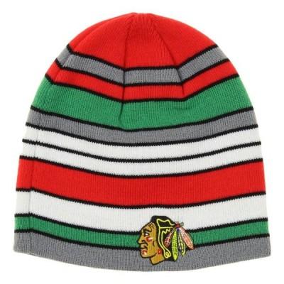 キッズ スポーツリーグ ホッケー Reebok NHL Youth Chicago Blackhawks Hawks Faceoff Stripe Knit Beanie 帽子