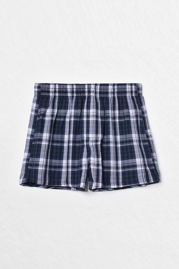 (男童)格紋控.平織純棉四角內褲 (深藍/藍/白格)