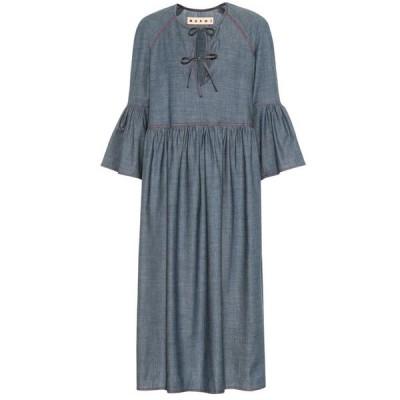マルニ Marni レディース ワンピース ミドル丈 ワンピース・ドレス stretch-cotton chambray midi dress Zaffiro
