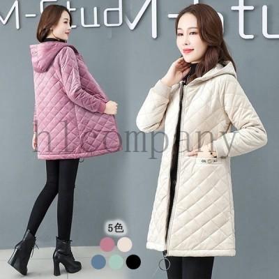 5色軽量中綿コートミディアムコート厚地30代40代50代着痩せ防寒暖かい大きいサイズ体型カバーフード付きベージュ