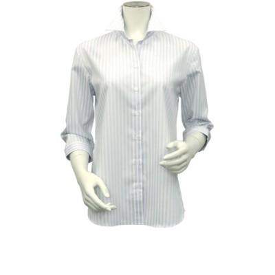 レディース ウィメンズシャツ 七分袖 形態安定 スキッパー衿 オーガニックコットン100% 白×サックスストライプ