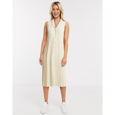 セレクティッド レディース ワンピース トップス Selected Femme pleated midi dress in cream Cream