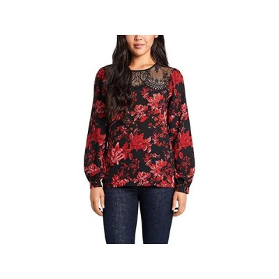 Vince Camuto Long Sleeve Lace Yoke Victorian Blooms Blouse レディース シャツ トップス Rich Black