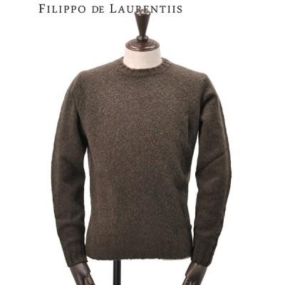 フィリッポ デ ローレンティス FILIPPO DE LAURENTIIS 国内正規品 メンズ クルーネックニット ウールカシミヤ 長袖  ブラウン でらでら 公式ブランド