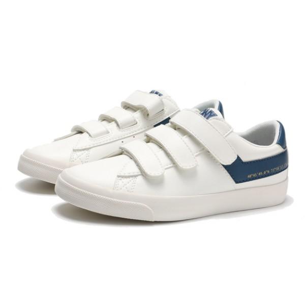 PONY 休閒鞋 板鞋 魔鬼氈 黏帶 皮革 白深藍 女生【83W1TS04DB】
