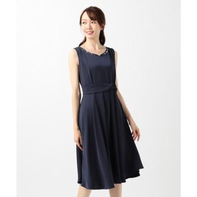 Feroux 【洗える!】バックシャンリボン ドレス (ネイビー系)