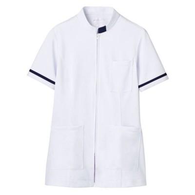 住商モンブラン住商モンブラン ジャケット(レディス・半袖) ナースジャケット 医療白衣 白/ネイビー M 73-1288(直送品)