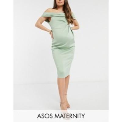 エイソス レディース ワンピース トップス ASOS DESIGN Maternity drape fallen shoulder midi pencil dress in sage green Sage green