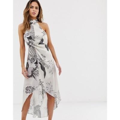 エイソス ASOS DESIGN レディース ワンピース ワンピース・ドレス high neck satin twill midi dress in tonal palm print Tonal palm print