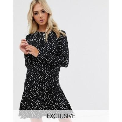 ウェンズデーガール レディース ワンピース トップス Wednesday's Girl long sleeve dress with peplum hem in polka dot