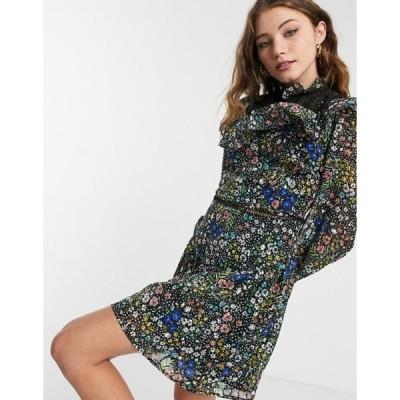 エイソス レディース ワンピース トップス ASOS DESIGN mini smock dress with ruffle eyelet yoke in grid check in floral print