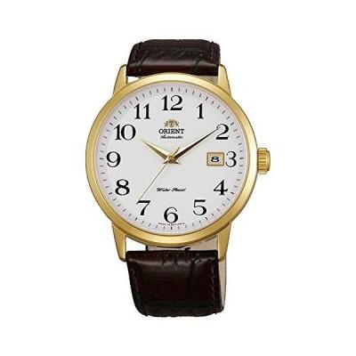 海外限定 Orient ER27005W Men's Symphony White Dial Gold Tone Leather Strap Mechanical Automatic Watch