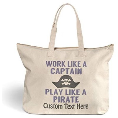 Canvas Beach Tote Work like A Captain Play Pirate Shopping Bags Zippered Personalized Text Here【並行輸入品】