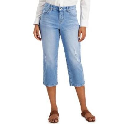 スタイルアンドコー レディース デニムパンツ ボトムス Distressed Curvy-Fit Capri Jeans, Created for Macy's Outside Wash