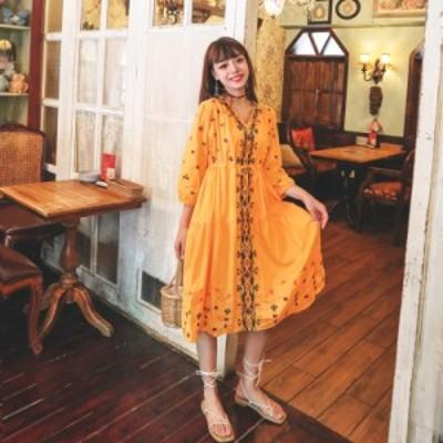 刺繍ワンピース レディース ロング 長袖 リゾートワンピース Vネック エスニック ドレス ゆったり 旅行 おしゃれ お遊び お出かけ