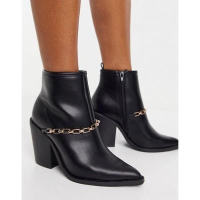 エイソス レディース ブーツ・レインブーツ シューズ ASOS DESIGN Elvin Western boots wth chain detail in black
