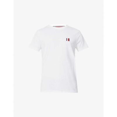 トミー ヒルフィガー TOMMY HILFIGER メンズ Tシャツ トップス Logo-print cotton-jersey T-shirt WHITE