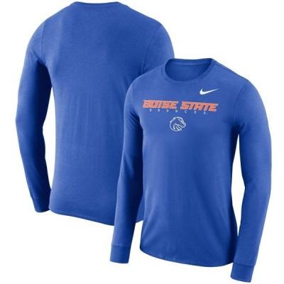ナイキ Tシャツ トップス メンズ Boise State Broncos Nike 2018 Facility Dri-FIT Cotton Long Sleeve T-Shirt Royal