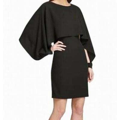 DKNY ダナキャランニューヨーク ファッション ドレス DKNY Womens Dress Black Size 6 Sheath Chiffon-Cape Crewneck Popover