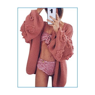 Simplee Women's Oversized Lantern Sleeve Chunky Cozy Cable Knit Cardigan Sweaters (Rose 4-6)【並行輸入品】