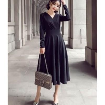 ドレス カシュクール フレア 黒 ブラック 長袖 きれいめ 秋物 冬物 最新 レディース ファッション 2020 人気 可愛い 大人