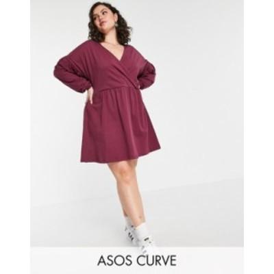 エイソス レディース ワンピース トップス ASOS DESIGN Curve Wrap front long sleeve smock dress Berry