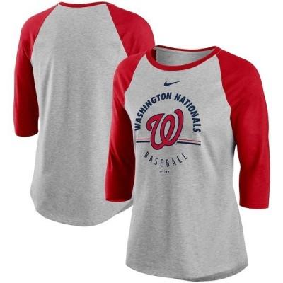 ナイキ レディース Tシャツ トップス Washington Nationals Nike Women's Encircled Tri-Blend 3/4-Sleeve Raglan T-Shirt
