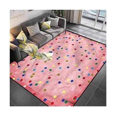 "Area Rug Rugs Print Large Floor Mat Spots,Geometric Circles Image Carpet Rug for Living Playing Dorm Room Bedroom 4'7""x6'6""並行輸入品"