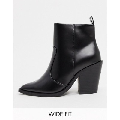 エイソス レディース ブーツ&レインブーツ シューズ ASOS DESIGN Wide Fit Emmy western heeled boots in black Black