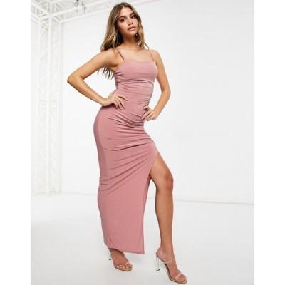 クラブエル ロンドン Club L London レディース ワンピース マキシ丈 ワンピース・ドレス Club L Maxi Dress With Split In Pink ダスティローズ