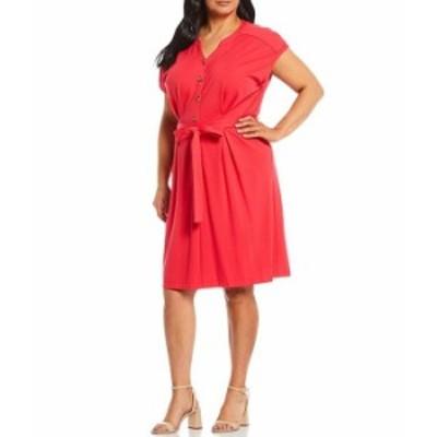 カルバンクライン レディース ワンピース トップス Plus Size Short Sleeve Button Front Dress Watermelon