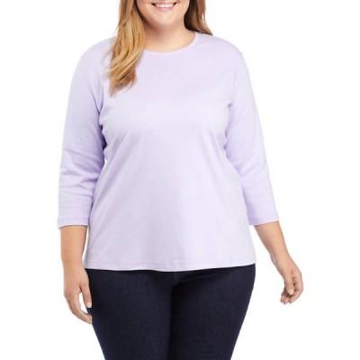 キム ロジャース レディース Tシャツ トップス Plus Size 3/4 Sleeve Crew Neck Top