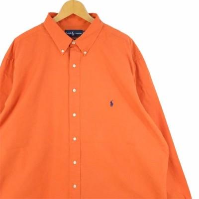 古着 大きいサイズ 旧タグ ラルフローレン 長袖ボタンダウンシャツ CLASSIC FIT メンズUS-2XLサイズ 無地 オレンジ系 tn-0425n