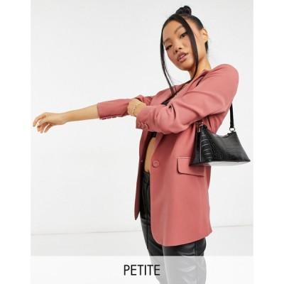 ワイ エー エス Y.A.S Petite レディース スーツ・ジャケット ロング アウター longline suit blazer co-ord in dark pink ダークピンク