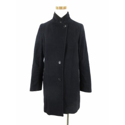 【中古】スピック&スパン Spick&Span ステンカラー コート 立ち襟 Vallombrosa バロムブローサ ポケットフェイクレザー 紺 36