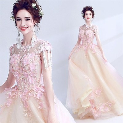 ウェディングドレス花嫁結婚式パーティードレス大きいサイズお呼ばれドレス司会者演奏会用ロングドレス花柄編み上げドレスライン花嫁の介添えドレス