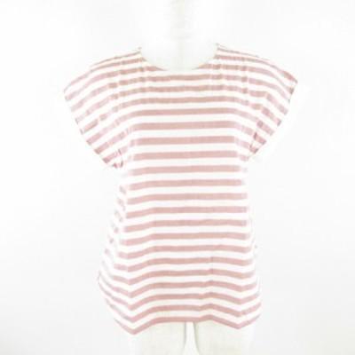 【中古】ユナイテッドアローズ UNITED ARROWS シャツ 半袖 ボーダー 白 赤 *E142  レディース