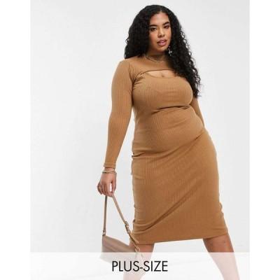 ファッションユニオン ドレス 大きいサイズ レディース Fashion Union Plus high neck cut out midi bodycon dress in rib エイソス ASOS