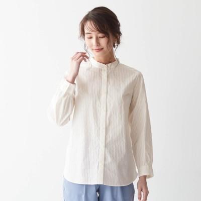 オーガニックコットン綿100%で丁寧に仕立てたスタンドカラーシャツ[日本製] オフホワイト S M L LL