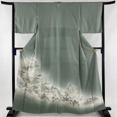 色留袖 美品 秀品 一つ紋 東海道五拾三次 人物 金糸 ぼかし 薄緑 袷 身丈163cm 裄丈63.5cm S 正絹 中古