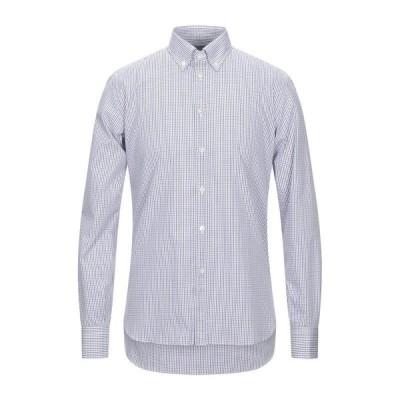 BRIO チェック柄シャツ  メンズファッション  トップス  シャツ、カジュアルシャツ  長袖 ホワイト