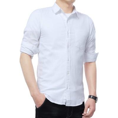 Gmardar メンズ カジュアルシャツ デニムシャツ リネンシャツ 長袖 ウェスタンシャツ カラーシャツ アメカジ 綿 麻 防菌防臭 無地 重ね着