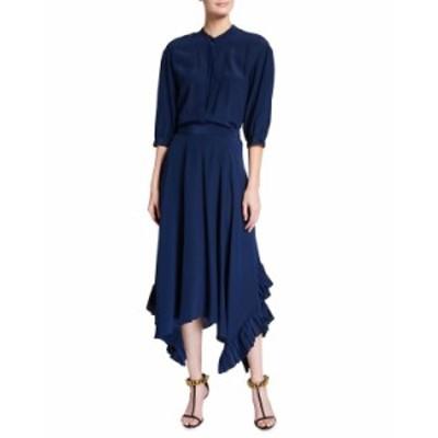 ステラマッカートニー レディース ワンピース トップス 3/4-Sleeve Flowy Belted Silk Maxi Shirtdress BLUE